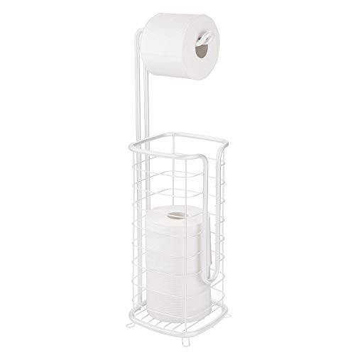 mDesign Metal Free Standing Toilet Paper Holder Stand and Dispenser, with Storage for 3 Spare Rolls of Toilet Tissue While Dispensing 1 Roll for Bathrooms/Powder Rooms - Holds Mega Rolls - White (Toilet Paper White Holder)