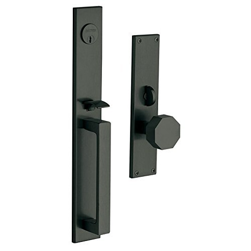 (Baldwin 6570.ENTR Atlanta Single Cylinder Mortise Handleset Trim Set, Satin Black)