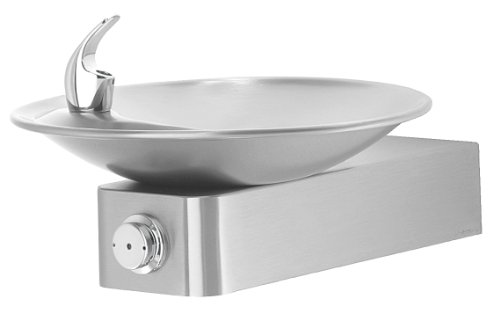 Haws 1001 Satin Finish 18 Gauge 304 Stainless Steel Barrier-Free Drinking Fountain with Sculpted Bowl Mounting Frame Not Included