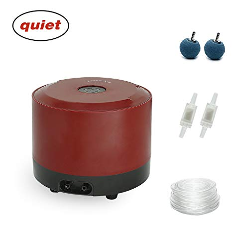 boxtech Ultra Quiet Aquarium Air Pump, Adjustable Air Aerator Pump with Accessories - Air Stone Check Valve and Tube 3.8 W Oxygen Pump for 10-150 Gallon Fish Tank ()