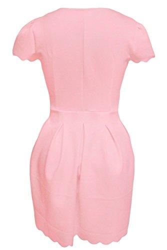 Ladies Pink Scallop Edge skater vestito estivo da danza casual Wear taglia XL UK 14EU 42