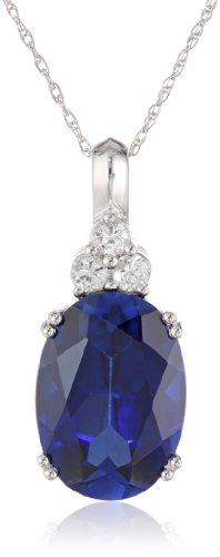 10k White Gold and Oval Created Blue Sapphire Pendant Necklace, 18