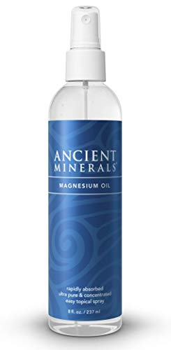Ancient Minerals Magnesium Oil Spray Bottle of Pure Genuine Zechstein Magnesium Chloride - Topical Magnesium Supplement for Skin Application and Dermal Absorption - Lotion Bottle Spray 8 Oz
