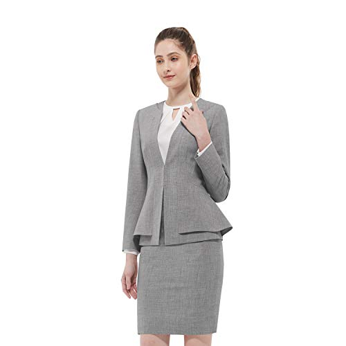 Women Business Suit Set for Office Lady Two Pieces Slim Work Blazer & Skirt (Light Gray, 6) (Ladies Skirt Sets)