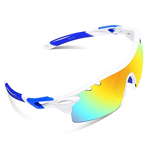 Ewin E01 Polarized Sports Sunglasses UV400 Protection for Men Women(White&Blue)