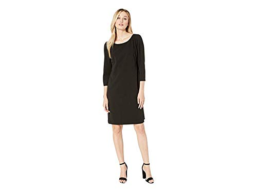 - Vince Camuto Womens Long Sleeve Puff Shoulder Crepe Ponte Dress Rich Black SM