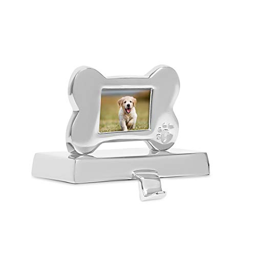BIRDROCK HOME Dog Frame Stocking Holders - Puppy Holiday Greetings Mantle Fireplace Topper - Decorative Christmas Stocking Holder - Stainless Steel