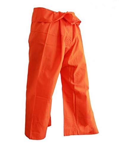 Orange Fisherman Pants - wonderflowers Orange Color Fisherman Pants Handmade Toray Yoga Casual Trousers Beach Harem Warp Pilates Hippie BohoRelax Waist Lounge Pajama JoggerUnisex Free Size