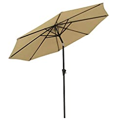 Garden and Outdoor COBANA Patio Umbrella Outdoor Aluminum Table Umbrella of 9-Feet with 8 Ribs and Push Button Tilt and Crank, Beige patio umbrellas