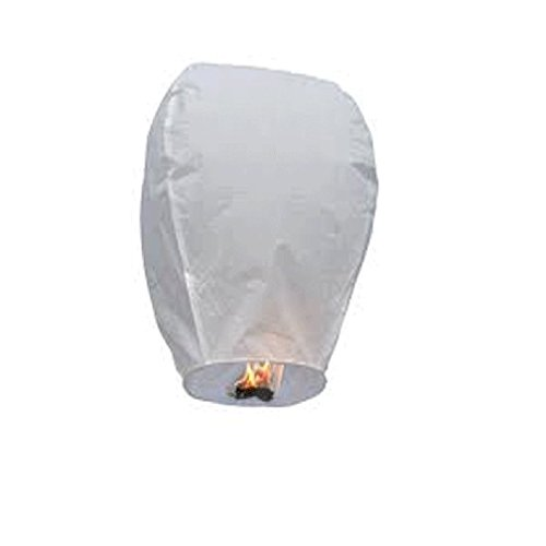 JWTX 5 PCS Sky Lanterns Original Paper Lanterns Hot Air Balloons Floating Eco Wish Lanterns for Birthday Wedding Christmas Party (38*55*96cm, White) - Eco Christmas Decorations