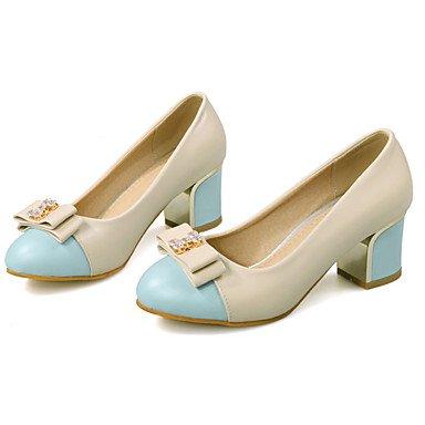 Zapatos de tacones de las mujeres Primavera Verano Otoño Invierno Comfort cuero sintético oficina y carrera Fiesta y Noche Casual tacón grueso del Bowknot Rosa Amarillo Azul Pink