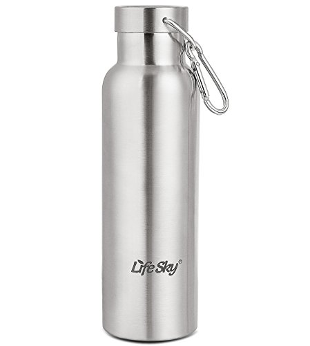 LifeSky Stainless Steel Sports Water Bottle - Double Walled Vacuum Insulated, Wide Mouth, BPA Free, 20oz (600ml) (Bottle Vacuum 600)
