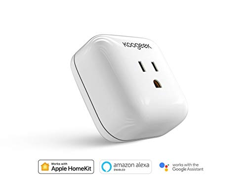 Koogeek Smart Plug, WiFi Socket Outlet, Compatible with Amazon Alexa, Apple HomeKit and Google Assistant, Electronics Controller No Hub Required on 2.4GMhz Network