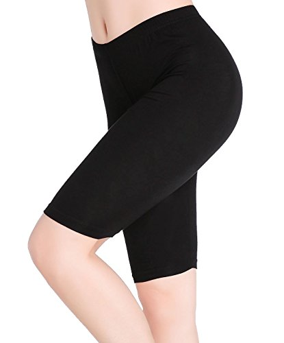 Womens Under Skirt Pants Soft Ultra Stretch Knee Length Leggings Slimming Fitness Sport Shorts, Black, (Knee Length Pants)