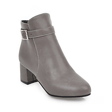 Booties Dress Fall Toe Chunky 5 US5 Leatherette Heel RTRY Winter Shoes CN35 Women's Ankle Round Bootie UK3 5 Boots Boots Fashion Casual Buckle For EU36 Zipper Boots tqwxORCcw7
