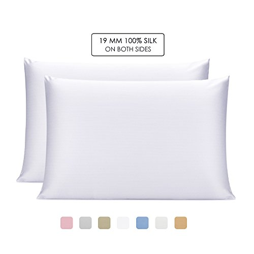 OleSilk 100% Mulbery Silk Pillowcase with Hidden Zipper for Hair and Skin Beauty,Both Sides 19mm ...