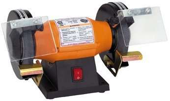 5 inch Bench Grinder 1/3 HP, Wheel Dia 5 inch, Arbor Dia 1/2 inch; Includes 36 grit and 60 grit aluminum oxide wheels