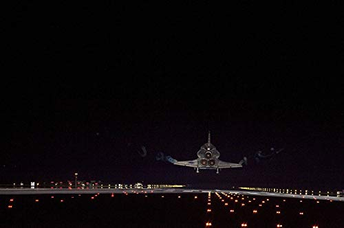 Home Comforts Canvas Print Runway Lights Night Space Shuttle Endeavour Landing Vivid Imagery Stretched Canvas 32 x 24