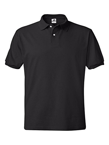 Hanes Mens 5.2 oz Hanes STEDMAN Blended Jersey Polo, 2XL-Black by Hanes