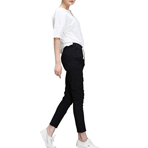 Dehutin Mujer Verano Algodón Pantalones largos ocasionales Ajustado Pantalones de lápiz Negro