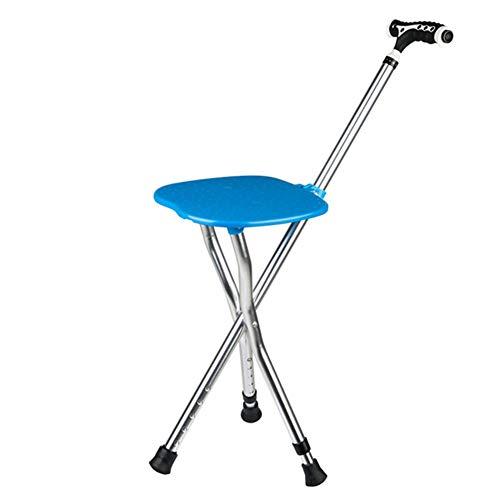 cane Walking Stick with LED Light Folding Seat Three Legged Massage Seniors/Aluminum Alloy/Height Adjustable/Height 85-95Cm,5 Gear Adjustment