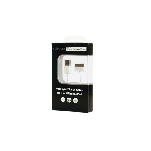 Cirago IPA1000 30-Pin Dock Connector to USB Sync/Charger Cable for iPod/iPhone/iPad, 3-Feet
