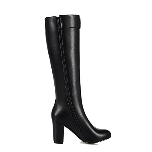top Closed Toe Solid Black Pointed Material High Boots Heels Allhqfashion High Women's Soft qHSgMRwA