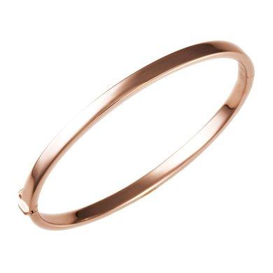 Or Rose 18carats 4mm plat-Bracelet Jonc 17,8cm