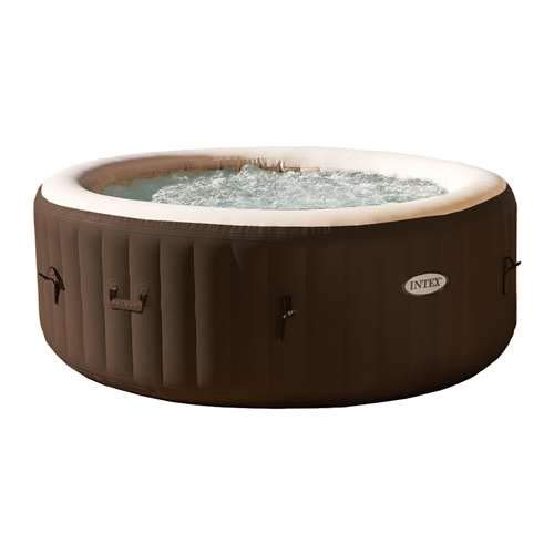 (Intex PureSpa 4Person Inflatable Bubble Jet Spa Portable Heated Hot Tub, Brown)