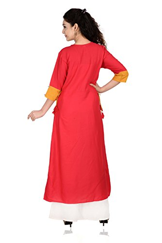 Women Tunic Wear Rayon Red Long Ladies Dress BrightJet Bollywood Designer Casual Top Party Kurti xWU4tawX