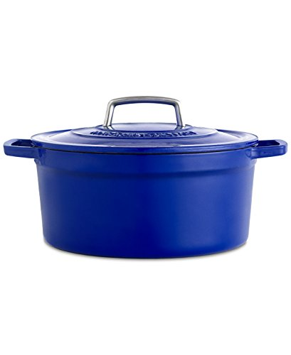 Collector's Enameled Cast Iron 8 QT. Cookware Pot For Multiuse | Exceptional Quality Cast Iron For Browning | Braising | Stewing | Casseroles & Much More | By Martha Stewart (Indigo) 8 Qt Enameled Cast Iron