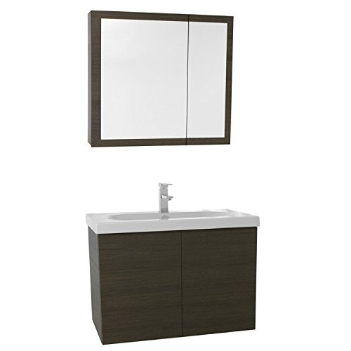 "Iotti Iotti TR69 Trendy Bathroom Vanity with Ceramic Sink and Medicine Cabinet Included, 31"", Grey Oak durable service"
