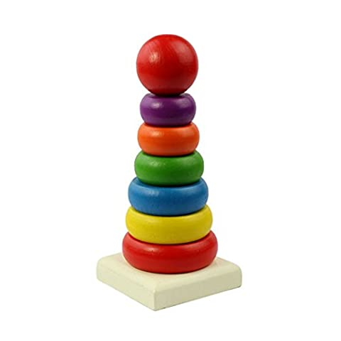DEESEE(TM) Kid Baby Wooden Stacking Stack Up Rainbow Tower Ring Educational Toy