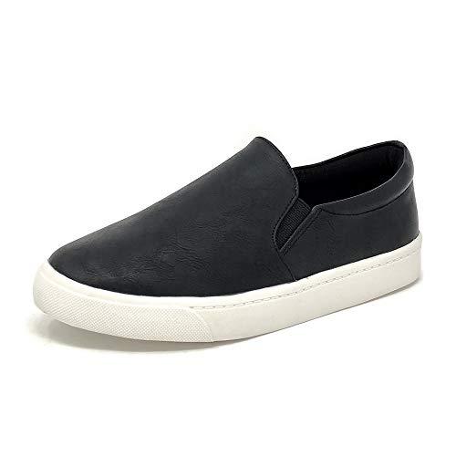 (SODA Women's Slip On Flat Shoes (8.5 M US, Black PUr))