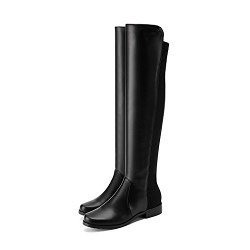 Latest Women's Knee Boots Low Square Heel Lady Riding Boots Autumn Winter Woman Shoes Black Pu jgT5jG1M