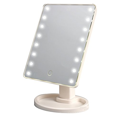 Thosdt 16 LED Smart Touch Screen Portable Tabletop Lighted Cosmetic Vanity Makeup Mirror(White)