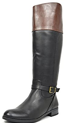 TOETOS Women's Fashion Daily Casual Knee-High Buckle Lady Winter Riding Boots (Wide Calf Available)