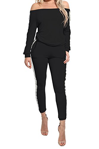 TrinhGuo Women's 2 Piece Off Shoulder Jumpsuits Bodycon Sweatsuit Set Tracksuit Outfit Black (Army Outfits For Womens)