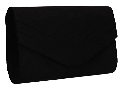 Samantha Faux Leather Suede Womens Party Prom Wedding Ladies Clutch Bag - Black by SwankySwans