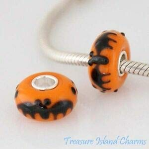 Harissa Halloween BAT LAMPWORK Murano Glass 925 Sterling Silver European Bead Charm Crafting, Bracelet Necklace Jewelry Findings Jewelry Making Accessory