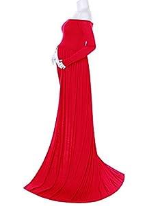 Saslax Maternity Chiffon Gown Split Front Maxi Photography Dress for Photo Shoot