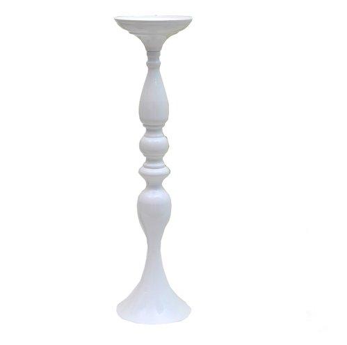 Tall White Centerpiece Metal Pillar Candleholder (1 Only)
