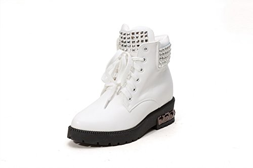 Soft PU Boots Heels with Allhqfashion and Glass Metal White Nail Kitten Women's Material Diamond Yw5qqHE