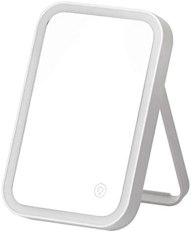 GCX- LEDの化粧鏡家庭用デスクトップ充電式洗面化粧台デスクトップ折りたたみミラーライト ファッション