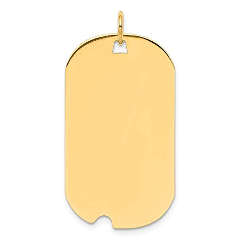 Solid 14k Yellow Gold Plain .013 Gauge Engravable Dog Tag with Notch Disc Pendant Charm (19mm x 37mm)