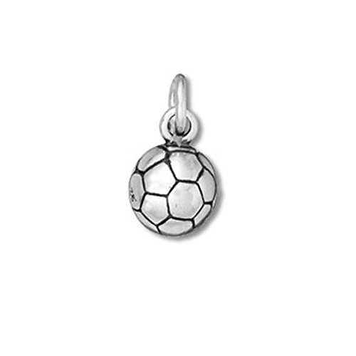 Sterling Silver Small Solid 3D Soccer Ball Charm Item #36045