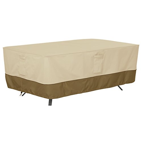 Classic Accessories Veranda Rectangular/Oval Patio Table Cover, Large (And Garden Rectangular Chairs Table)