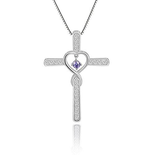 - Ckysee Cross Cubic Zirconia Infinity Love Heart Birthstone Pendant Necklace for Women Girls June- Alexandrite