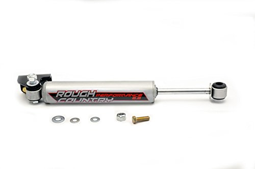 Rough Country - 87306 - Steering Stabilizer & Relocation Bracket w/ Performance 2.2 Shock for Jeep: 07-18 Wrangler JK 4WD/2WD, 07-18 Wrangler Unlimited JK 4WD/2WD