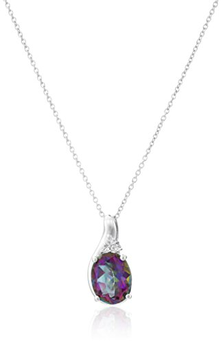 Sterling Silver Necklace with Mystic Fire Topaz and White Topaz
